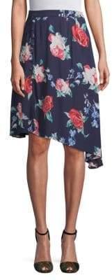 Asymmetrical Rose-Print Skirt