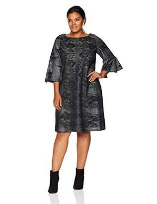 Gabby Skye Women's Plus Size 3/4 Bell Sleeve Round Neck Lace Fit & Flare Dress