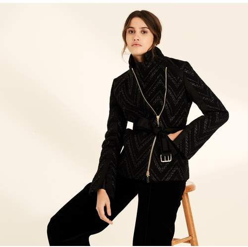 Black Raffia Stripe Belted Jacket