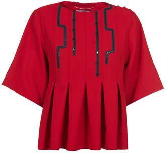 Carven Cropped Pleated Blouse