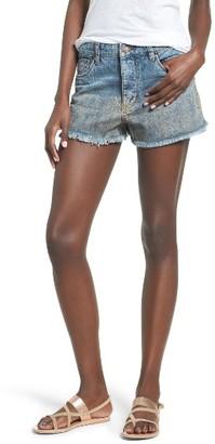 Women's Sun & Shadow Gold Spray Fray Hem Denim Shorts $55 thestylecure.com
