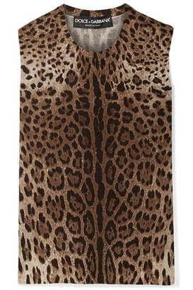 Dolce & Gabbana Leopard-print Wool Top - Brown