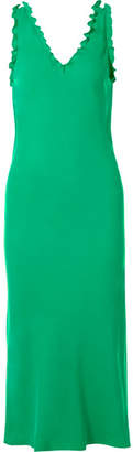 Tibi Ruffle-trimmed Washed-satin Midi Dress - Green