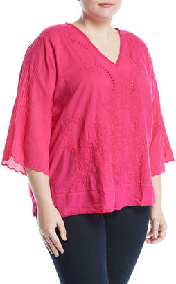 Johnny Was Plus Embroidered 3/4-Sleeve V-Neck Blouse, Plus Size