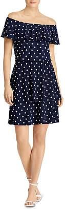 Lauren Ralph Lauren Off-the-Shoulder Polka-Dot Jersey Dress