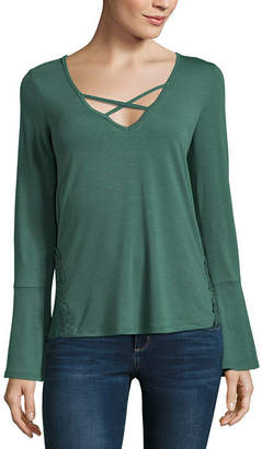 Self Esteem Long Sleeve V Neck Jersey Blouse-Juniors