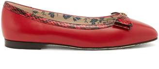 Gucci Eva bow-embellished leather ballet flats
