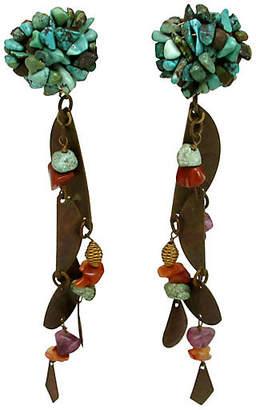 One Kings Lane Vintage Modernist Southwest Turquoise Earrings - Thanks for the Memories