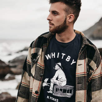 Art Disco 'Whitby Seafarer' Hand Printed Navy T Shirt And Tote