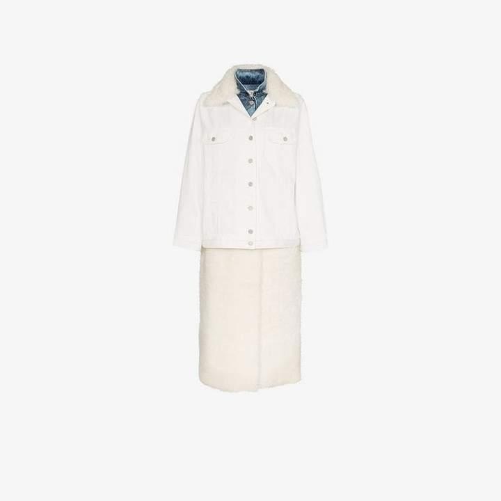 layered shearling denim jacket