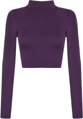 f7f2e1518c9 WearAll Womens Turtle Neck Crop Long Sleeve Plain Polo Short Stretch Top -  8-10