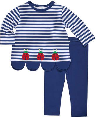 Florence Eiseman Striped Ladybug Scallop-Hem Top w/ Matching Leggings, Size 2-6X