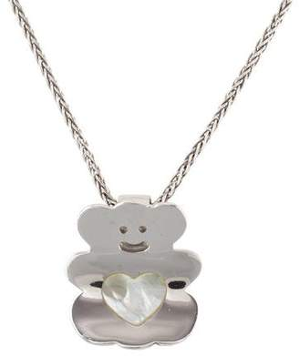 Mother of Pearl 18K Teddy Bear Pendant Necklace