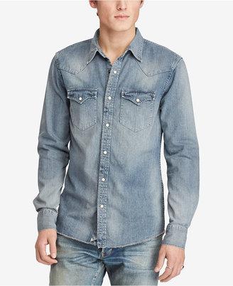 Denim & Supply Ralph Lauren Men's Slim-Fit Cotton Denim Western Shirt $98.50 thestylecure.com
