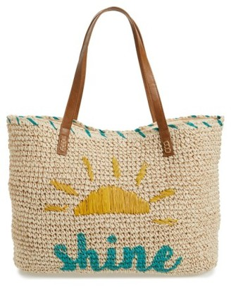 Nordstrom Shine Straw Tote - Brown $49 thestylecure.com