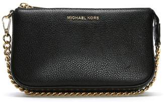 Michael Kors Mid Chain Black Tumbled Leather Pouchette