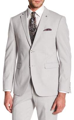Original Penguin Silver Seersucker Gingham Two Button Notch Lapel Suit Separates Jacket