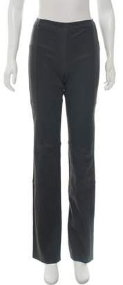 Halston Leather Mid-Rise Pants