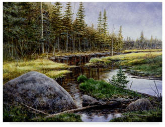 "Adirondack (アディロンダック) - John Morrow 'Adirondack Gold' Canvas Art - 32"" x 24"" x 2"""