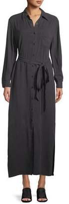 Rachel Pally Button-Front Garment-Dye Twill Long Shirtdress w/ Belt
