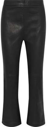 IRO Beck Cropped Leather Straight-Leg Pants