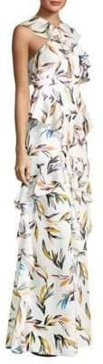 AMUR Tessa Floral-Print Gown