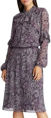 Ralph Lauren Paisley-Print Tie-Neck Dress