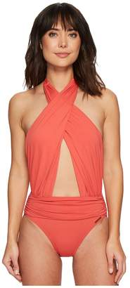 Vince Camuto Riviera Solids Wrap Halter Neck One-Piece Swimsuit Women's Swimsuits One Piece
