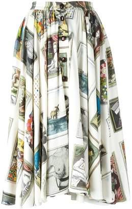Olympia Le-Tan printed flared skirt
