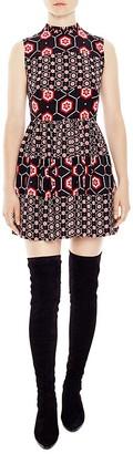 Sandro Honeycomb Printed Silk Dress $570 thestylecure.com