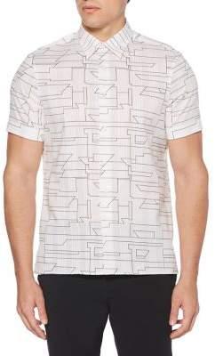 Perry Ellis Abstract Linear Short-Sleeve Shirt
