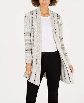 Style&Co. Style & Co Jacquard-Stripe Open-Front Cardigan, Created for Macy's