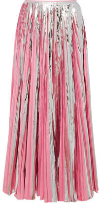 Marni Pleated Metallic Coated-crepe De Chine Midi Skirt - Pink