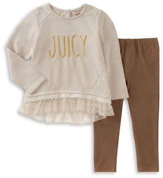 Juicy Couture Tee and Faux-Suede Leggings Set