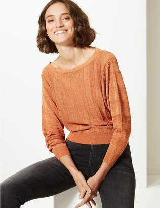 Marks and Spencer Textured Slash Neck Jumper
