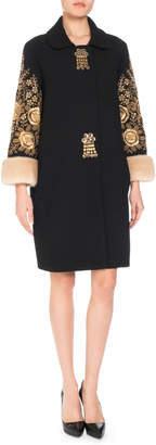Andrew Gn Tassel-Front Embroidered Wool-Blend Coat w/ Fur Cuffs