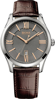 HUGO BOSS 1513041 ambassador watch with leather strap $158 thestylecure.com
