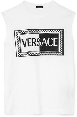 Versace Embroidered Printed Cotton-jersey Tank