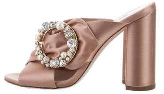 Miu Miu Satin Embellished Slide Sandals