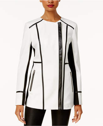 INC International Concepts I.N.C. Faux-Leather-Trim Moto Jacket, Created for Macy's