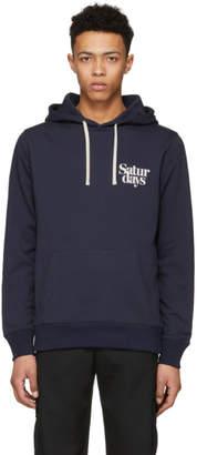 Saturdays NYC Navy Ditch Miller Logo Hoodie