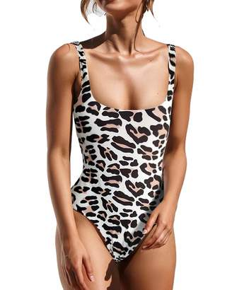 3399c5e192775 at Amazon Canada · Lwaoien One Piece Monokini Bikini Swimsuit for Women  High Cut Leopard Print Bathing Suits Backless Thong