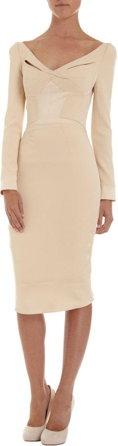 Zac Posen Long Sleeve Wide V-Neck Dress