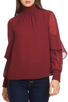 1 STATE 1.STATE Smocked Ruffle Sleeve Top