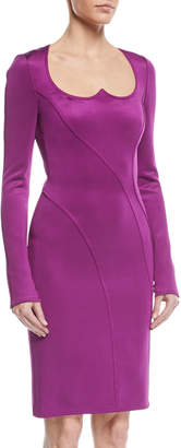 Givenchy Long-Sleeve Sweetheart-Neck Sheath Dress, Dark Purple