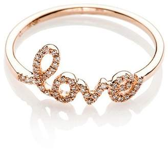 Ef Collection 14K Rose Gold Diamond Love Script Ring - Size 3 - 0.10 ctw