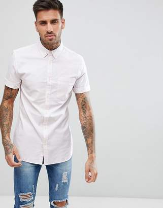 New Look Stripe Muscle Fit Oxford Shirt In Pink