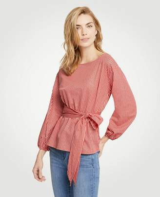 Ann Taylor Petite Stripe Belted Blouson Sleeve Top