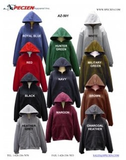 SPECIEN Adult Hooded Full Covered Zipper Fleece Sweatshirt Jacket