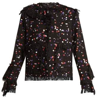 MSGM Splatter Print Cotton Blend Jacket - Womens - Black